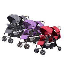 Twin Baby Stroller Double System Folding Baby Pram Jogger 2 Seats