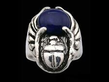 Sterling Silver Egyptian Flying Scarab Ring with Gemstone Options