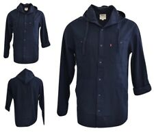 Levis Mens Casual Shirt Hoodie Long Sleeve Button Up Navy
