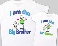 """Matching """"BIG BROTHER, Little' SISTER"""" Sibling Shirt WHITE Tees MIN ORDER -2"""