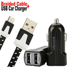 USB Cable Black Braided Pack of Dual Port Car Charger and Micro Cord for Samsung