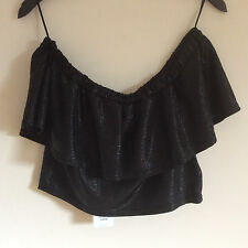 Women's Lipsy Black Metallic Bardot Crop Top, Size 12 & 14, BNWT