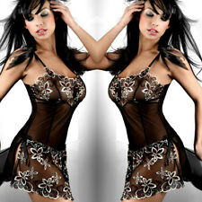 Plus Size Sexy Floral Embroidered Black Mesh Chemise G-string Lingerie Set S-6XL