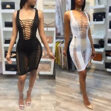 Women's Sexy Sleeveless Cut Hollow Out Bandage Evening Club Party Bodycon Dress