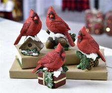 RED CARDINAL BIRD SNOWY PINECONE CHRISTMAS SHELF SITTER TABLETOP DECORATION