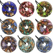 Colorful Gemstone Sea Sediment Jasper Round Donut Pendant Bead For Necklace