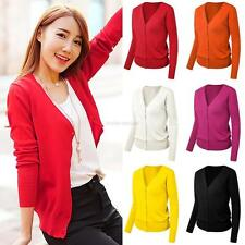 Stylish Women Casual Solid Button Down Long Sleeve Knit Cardigan Sweater NEW