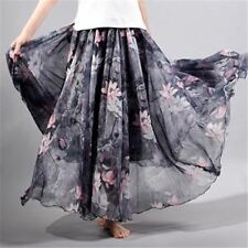 Women Floor-Length Long Maxi Skirt Vintage Chiffon Floral Printed  Beach Party L