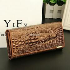 Women 3D Texture Bifold Long Wallet Multi-pocket Purse Money Cards Holders FT