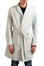 Jil Sander Men's Gray Button Up Belted Trench Coat Size M L