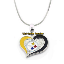 NFL Pittsburgh Steelers Heart Swirl Logo Pendant Necklace On A 925 Snake Chain