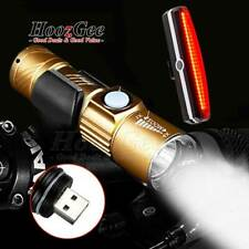 USB Rechargeable LED MTB Bike Bicycle Cycle Head Front Light Rear Tail Lamp Set
