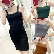 Women Solid Color Long Dress Sexy Female Sleeveless Knitted Slim Vest Dress GS