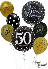 Black and Gold 50th Birthday Balloon Bouquet Adult Party Decorations