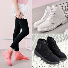 Womens Student Lace Up Mid Calf Round Shoes Flat Combat Ankle Martin Boots Size