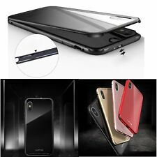 Luphie Metal Aluminum Bumper Frame Back Glass Full Case Cover Skin For iPhone X