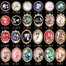 24 Mixed Shell Alloy Oval Round Nail Art Decoration Accessories for Gel Polish