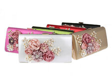 NEW LADIES PARTY PROM BRIDAL EVENING CLUTCH HAND BAG PURSE HANDBAG Flower
