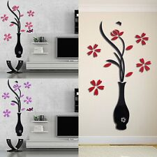 3D Three-Dimensional Vase Flower Wall Removable DIY Decorative Sticker BE