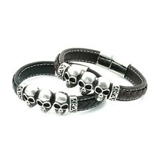 Genuine Braided Leather and  Stainless Steel Skull Bracelet