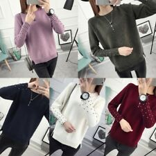 Fashion Korean Style Pullover Sweater Long-sleeved Knit Blouse Tops Women