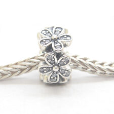 Authentic S925 Sterling Silver Dazzling Daisies Clear CZ Spacer Bead Charm