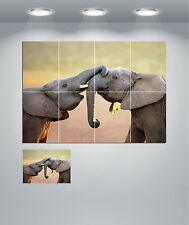 Cute Baby Elephants Giant Wall Art Poster Print