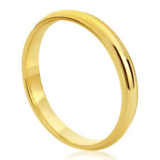 Women's 14K Yellow Gold Wedding Band 3mm Milgrain Domed Comfort Fit Promise Ring