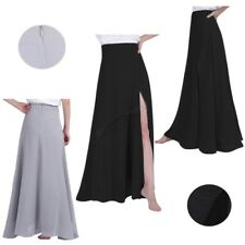 Women Ladies Chiffon Maxi Dress Side Split Long Skirt Bridesmaid Evening Party