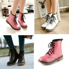 Womens Pu Leather Lace Up Mid Calf Round Shoes Flat Combat Ankle Martin Boots