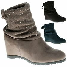 Lunara Womens Mid Hidden Wedge Heels Bow Diamante Slouch Boots Ladies Shoes Size
