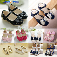New Kids Girls Bowknot Sandal Slip-On Soft Sole Shoes Sweet Party Princess Flats