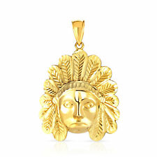 10k Yellow Gold Native American Charm Pendent Indian Chief Tribal Head
