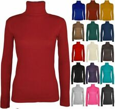 Womens Ladies Turtle Polo Roll Neck Long Sleeve Stretch Polo T Shirt Top Jumper
