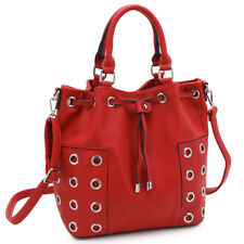 New Womens Handbags Faux Leather Tote Bag Bucket Bags Satchels Grommet Purse