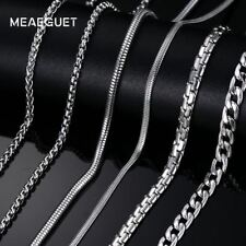 Classic Stainless Steel Silver Color Link Chain Necklace Snake/Box/Hanging/Curb/