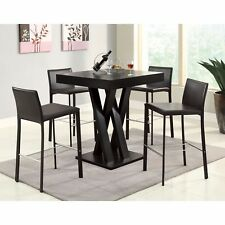 5 Piece Dark Brown Criss Cross Legs Pedestal Pub Dining Table Set Home Furniture