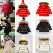 Chirstmas Kids Baby Winter Children's Girl Fur Collar Jacket Coat hooded 1-7 age