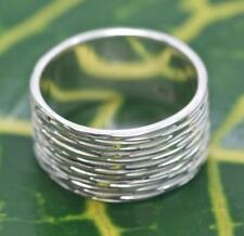 Handmade Solid Sterling Silver .925 Balinese Large Unisex Etched Band Ring.