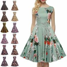 Women's Vintage Retro Foral Print Rockabilly Dress Hepburn Casual Party Dress