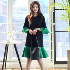 Women's Contrasted Color Flounce Patchwork Bell Sleeve Round-Neck Mini Dress