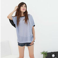 Women's Striped Print Patchwork Loose Batwing Sleeve TEE T-Shirts Tops Blouse