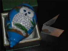 "PIER 1 ""LI BIEN"" OWL MOUTH BLOWN ART WORK GLASS CHRISTMAS ORNAMENT~NEW! MIB!"