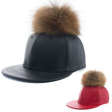 Men's Adjustable Faux Leather Fur Baseball Cap Snapback Hip-hop Flattened Hat