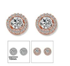 Rhodium Plated 925 Silver Round Micropave CZ Crystal Stud Earrings Gift Box P25