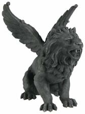 Resin Medieval Winged Lion Gargoyle Statue Figurine Halloween Outdoor Decoration