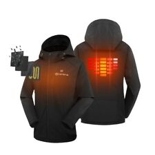 Heated Jacket with Hood Women Casual Cordless Black Rechargeable Battery Coat
