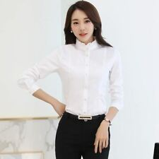 Women Fashion Solid Color Long-sleeved White Shirt Blouse