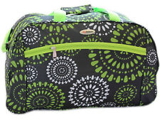 Womens Hand Luggage Cabin Bag Travel Flight Holdall Weekend Gym Green Circles