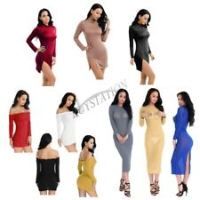 Women Ladies Long Sleeve Stretch Bodycon Slim Party Evening Cocktail Mini Dress